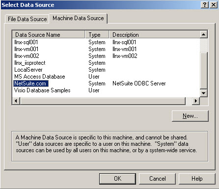 Access: Select your NetSuite ODBC Data Source