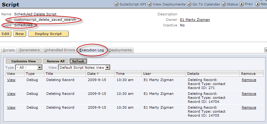Scheduled Delete Record Script Area
